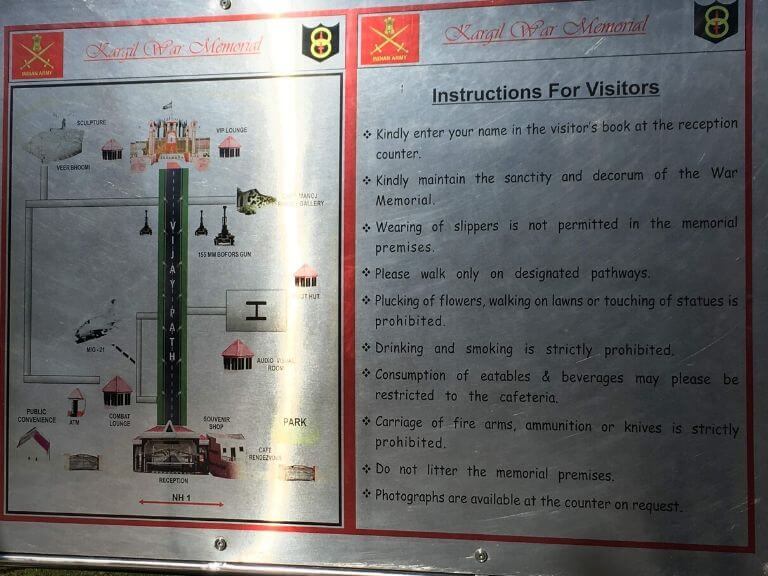 Instruction for Kargil War Memorial Visitor