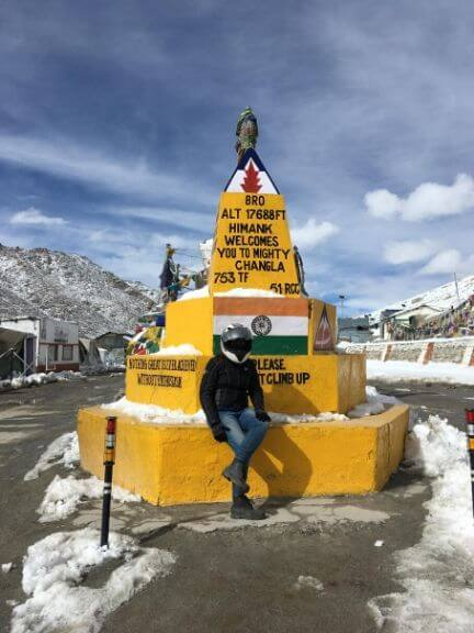 My wife at Changla Pass