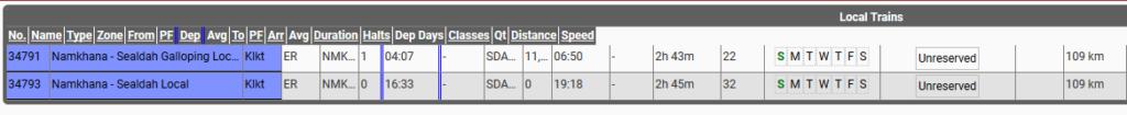Namkhana to Sealdah Local train timings