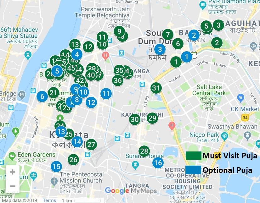 North Kolkata Durga Puja Map