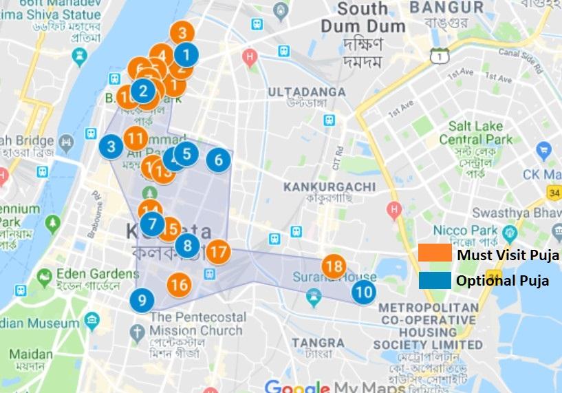 North Kolkata Durga Puja Map Day 2