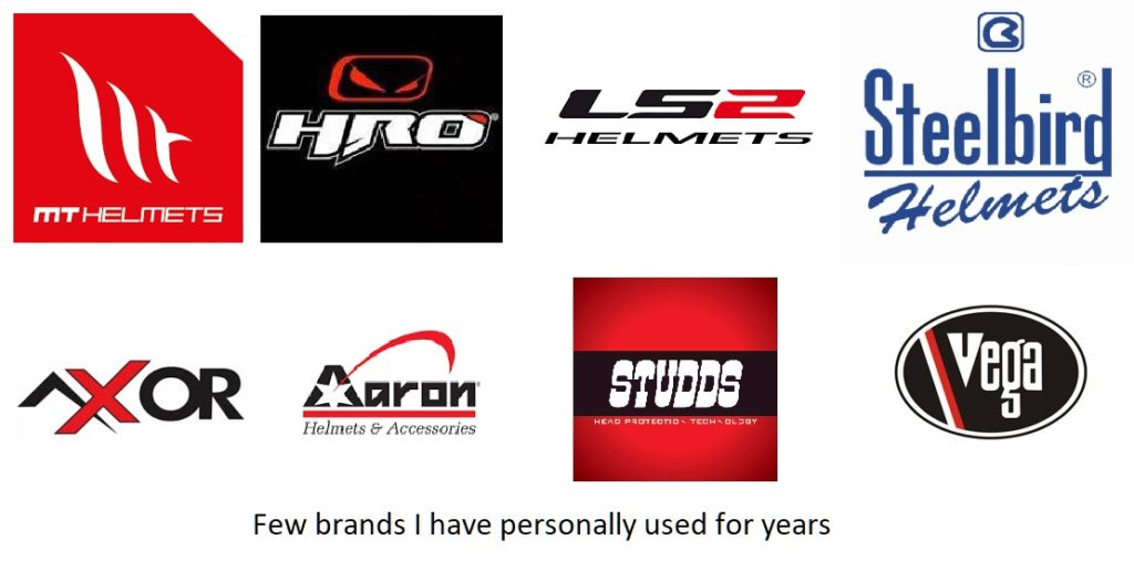 Helmet brands I have used so far