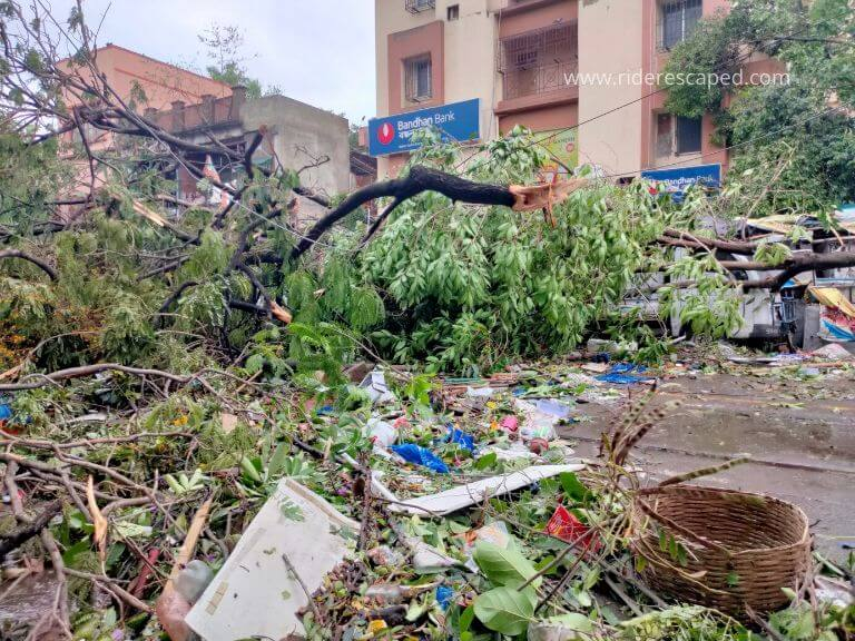 Amphan Cyclone effect in Bidhan Sarani, 21st May 2020
