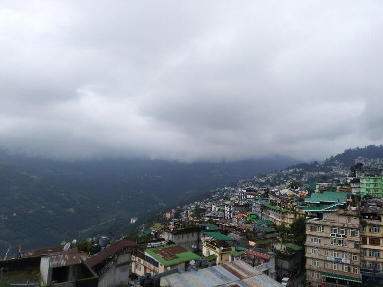 Cloudy view from the Hotel Nirvana, Gangtok