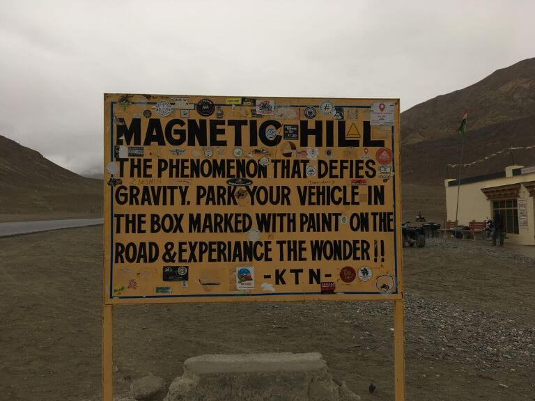 Famous Magnetic Hill Board, Ladakh