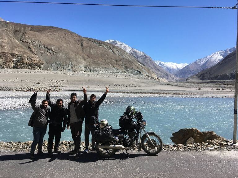 Me with Three stranger riders on Agham-Shyok Road