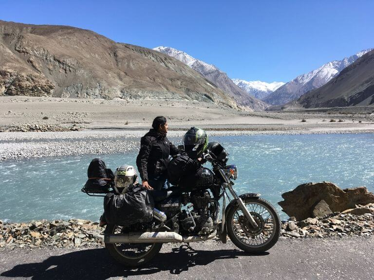 My wife in front of Shyok River