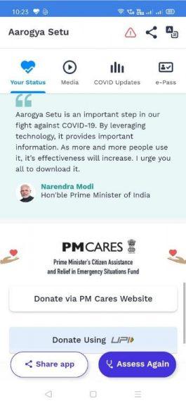 Aarogya Setu App Donation Options