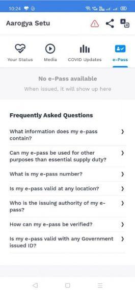 Aarogya Setu App e-Pass